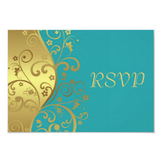 "RSVP Card--Teal & Gold Swirls 3.5"" X 5"" Invitation Card"