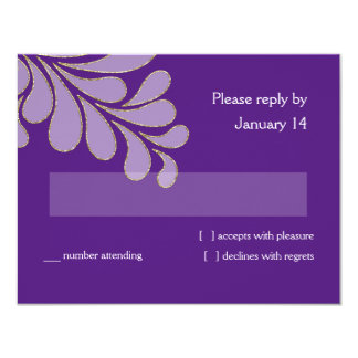 RSVP Card Trans White with Faux Gold Any Color