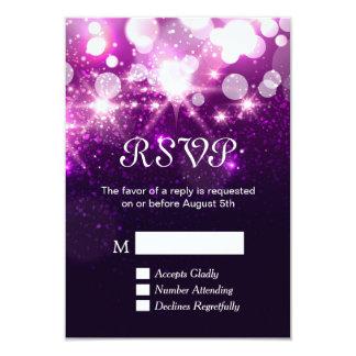 RSVP Card - Trendy Purple Glitter Sparkles