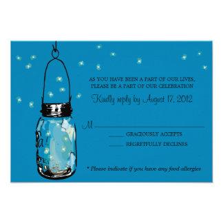 RSVP Card Whimsy Fireflies and Mason Jar