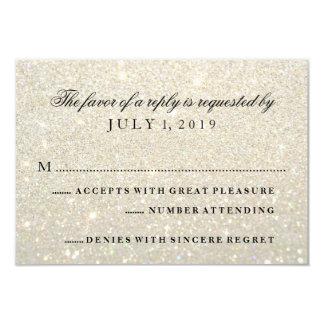 RSVP Card - White Gold Glit Fab