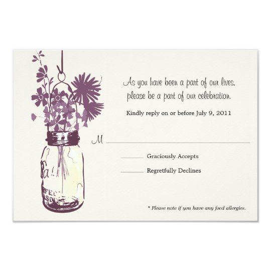 RSVP Card  Wild Flowers & Mason Jar