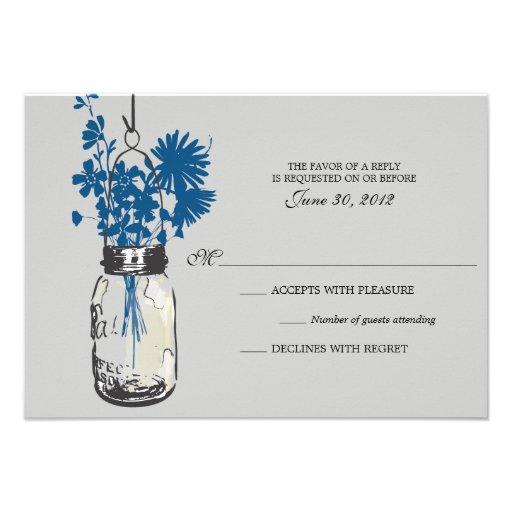RSVP Card  Wild Flowers & Mason Jar Announcement