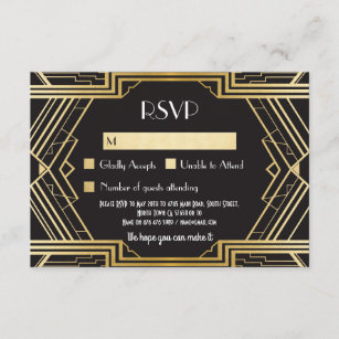 RSVP Cards 1920s Vintage Gatsby Wedding Invites