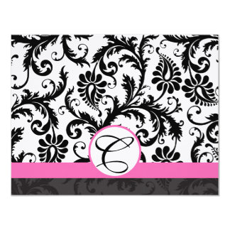 RSVP Cards-Black & White Damask Hot Pink Trim Card