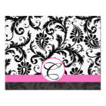RSVP Cards-Black & White Damask Hot Pink Trim Personalized Announcement