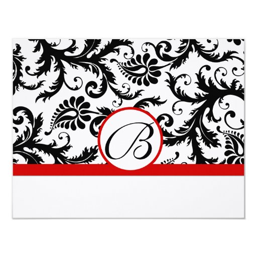 RSVP Cards-Black & White Damask Red Trim Personalized Invitations