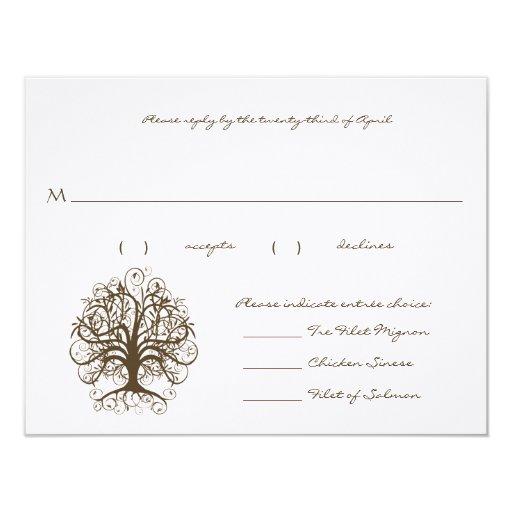 "RSVP Cards-Brown Tree Swirl Menu Selections 4.25"" X 5.5"" Invitation Card"