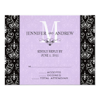 "RSVP Cards Monogram Chandelier Purple 4.25"" X 5.5"" Invitation Card"