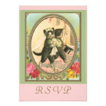 RSVP cat bride and groom Announcements