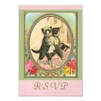 RSVP cat bride and groom Card