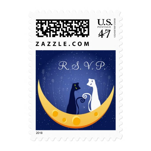 RSVP Cats on Moon Postage Stamp