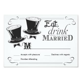 RSVP Chalkboard Gay Wedding Top Hats Card