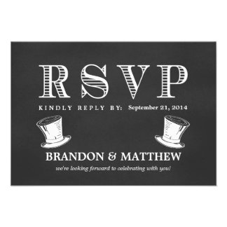 RSVP Chalkboard Gay Wedding Top Hats Personalized Announcements