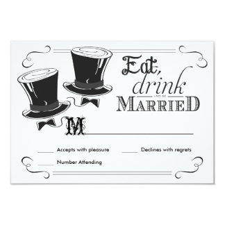 RSVP Chalkboard Gay Wedding Top Hats 3.5x5 Paper Invitation Card