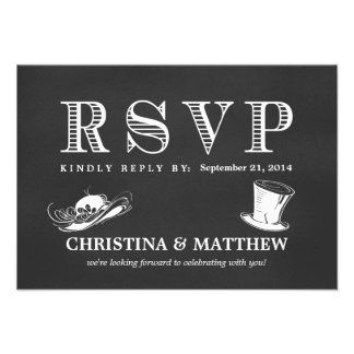 RSVP Chalkboard Vintage Wedding Hats Custom Invitation