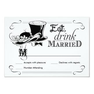 RSVP Chalkboard Vintage Wedding Hats 3.5x5 Paper Invitation Card