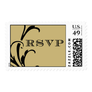 RSVP Champagne and Black Plume Postage