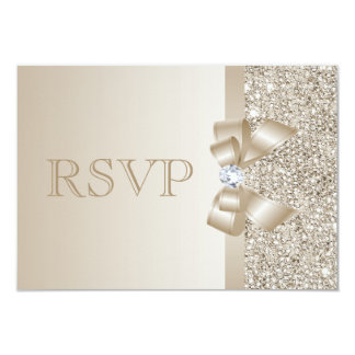 RSVP Champagne Sequins, Bow & Diamond RSVP 3.5x5 Paper Invitation Card