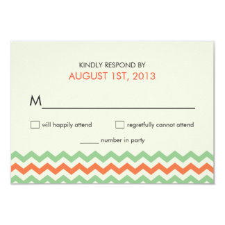 RSVP Chevron Wedding Coral Mint Green Card