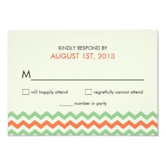 RSVP Chevron Wedding Coral Mint Green Personalized Invites