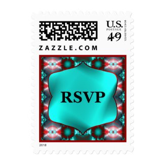 RSVP Colorful Teal Red Abstract Stamp