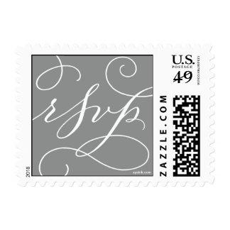 RSVP. con un Flourish: Blanco y gris pizarra Envio