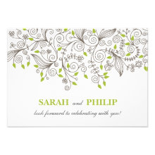 RSVP - Contemporary Formal Floral Swirls Personalized Invites
