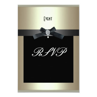 RSVP Corporate Event Formal Black Tie Champagne Card