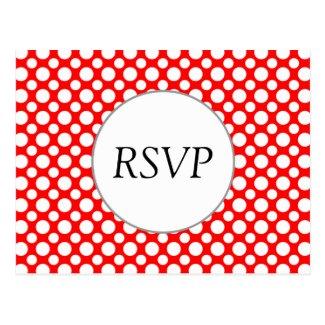 RSVP Custom White Polka Dots on Red Postcard