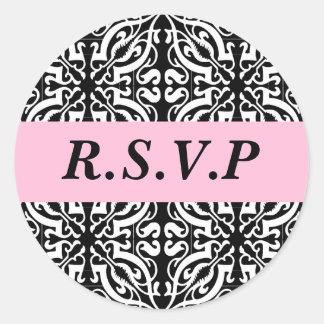 RSVP - Customizable (Black & White Damask) Classic Round Sticker