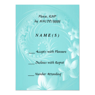 RSVP - Cyan Abstract Flowers Card