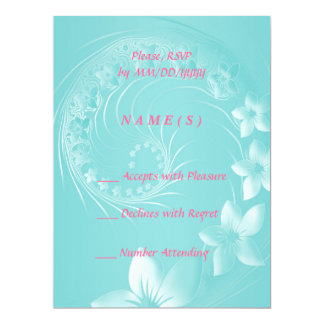 RSVP - Cyan Abstract Flowers 6.5x8.75 Paper Invitation Card