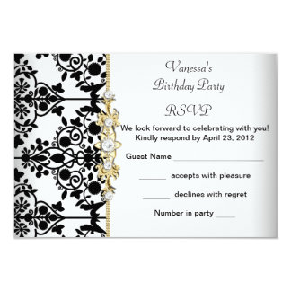RSVP Damask Birthday Party Gold Black White Floral 3.5x5 Paper Invitation Card