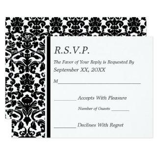 RSVP Damask Black and White Wedding Card