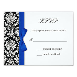RSVP - Damask Blue Bow Wedding Response Card