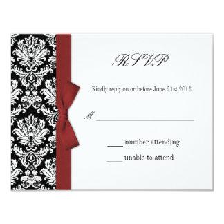 RSVP - Damask Burgundy Bow Wedding Response Card