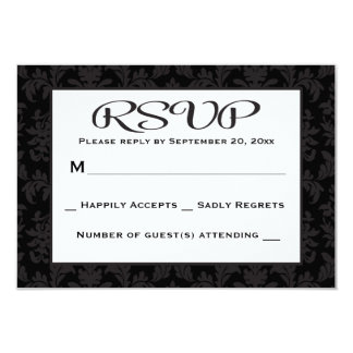 RSVP Damask Floral Black And Gray Wedding / Party Card