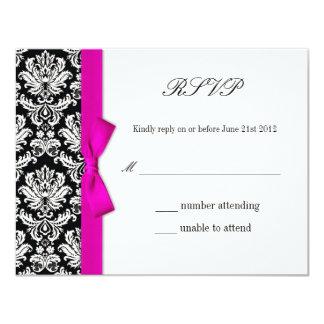 RSVP - Damask Pink Bow Wedding Response Card