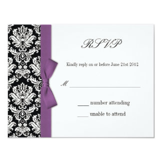 RSVP - Damask Purple Bow Wedding Response Card