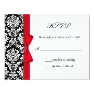 RSVP - Damask Red Bow Wedding Response Card