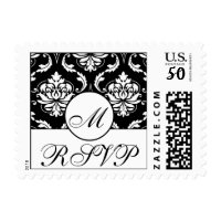 RSVP Damask Wedding Monogram Postage