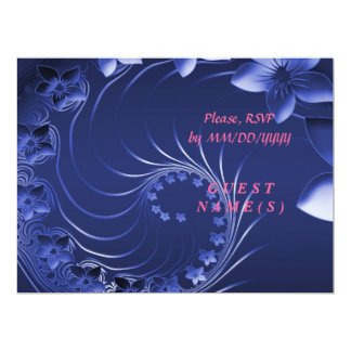 RSVP - Dark Blue Abstract Flowers Card