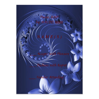RSVP - Dark Blue Abstract Flowers 6.5x8.75 Paper Invitation Card