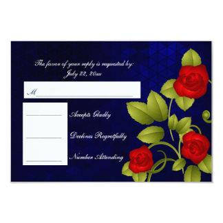 RSVP Dark Blue and Red Rose Wedding Card