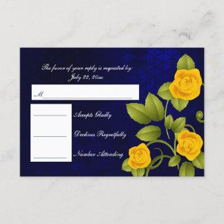 RSVP Dark Blue and Yellow Rose Wedding
