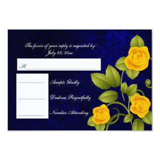RSVP Dark Blue and Yellow Rose Wedding Card
