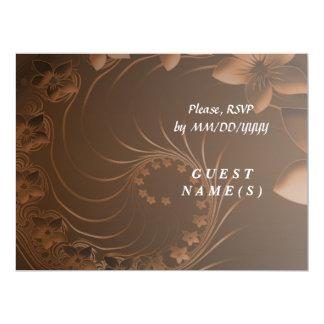RSVP - Dark Brown Abstract Flowers Card