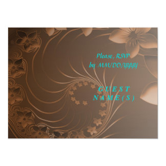 RSVP - Dark Brown Abstract Flowers 6.5x8.75 Paper Invitation Card