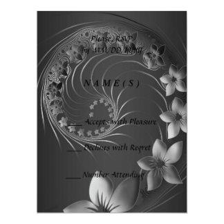RSVP - Dark Gray Abstract Flowers Card